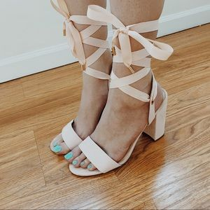 forever 21 lace up block heels size 10